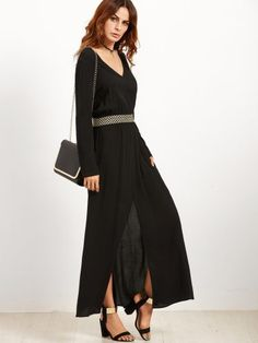 Black V Neck Elastic Waist Split Front Dress