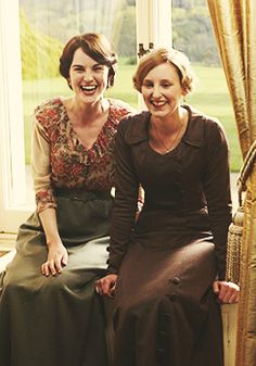 Oh, Edith's dress!! Downton Abbey - Mary and Edith- I love this picture! Me too #fun #DowntonAbbey #GG