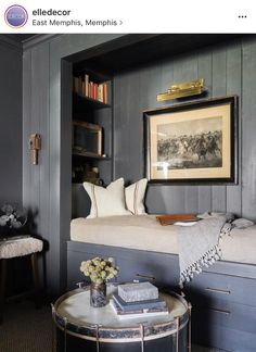 use an extra bedroom closet as a book shelf and extra bed nook
