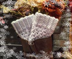 Hand Crochet Boot Cuffs in Silver Blue by KatyDidKrafts on Etsy, $10.00