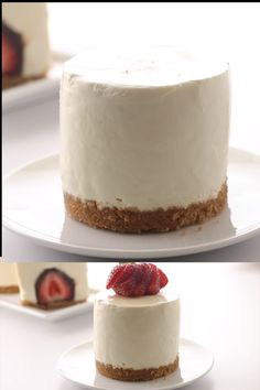 These individual no-bake cheesecakes are beyond awesome! The sweet vanilla cheesecake is smooth, creamy and delicious and it sits on a buttery graham cracker crust. # no bake Desserts No Bake Cheesecake with a Chocolate Covered Strawberry Fancy Desserts, No Bake Desserts, Delicious Desserts, Yummy Food, Elegant Desserts, Unique Desserts, Cold Desserts, Gourmet Desserts, Health Desserts