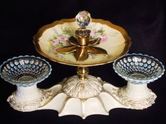 "Crystal Ball Appetizers.......1940"" vintage flush light fixture, painted & gilded,  w/ pair of upside down hobnail candlestick holders (cup shape).  Center plate is English Bone china (Aynsley C753).  Decorative  brass candlestick with faceted crystal bottle stopper set on plate( removable from plate) ."