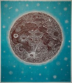We have a few paintings in our house, but we don't have any woodcut prints. THE MOON Woodcut Print Woodblock Print by Tugboat Printshop Constellations, Moon Print, Tug Boats, To Infinity And Beyond, Woodblock Print, Printmaking, Hand Carved, Illustration Art, Creations