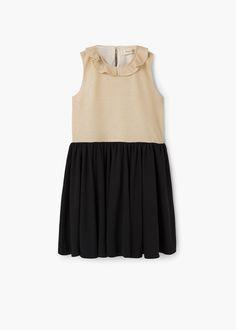 Monochrome contrast-bodice dress -  Kids   MANGO Kids Indonesia