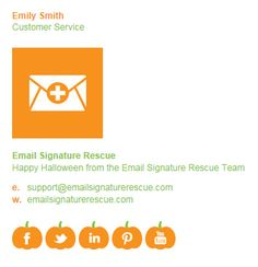Create your own SPOOKY email signature this Halloween, complete with PUMPKINS social icons. Create yours instantly at http://emailsignaturerescue.com/halloween