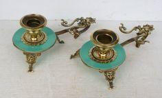 Rare Paire DE Bougeoirs Anciens DU Xixème EN Laiton ET Opaline | eBay | Pair of antique candlesticks from the 19th century