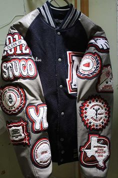 Another incredible custom letterman jacket for cheerleading! Order your teams today! Letterman Jacket Outfit, Letterman Jacket Patches, Custom Letterman Jacket, Varsity Letterman Jackets, Team Jackets, Men's Coats And Jackets, Nasa Clothes, Hype Clothing, Leather Jacket Outfits