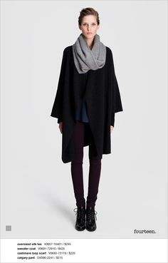 Beautiful relaxed sillhouette with oversize cardigan and wool shawl. Love the leather shoes and dark colors.