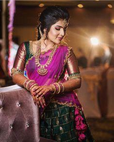 The Most Gorgeous South Indian Lehenga Saree Designs We Spotted! Lehenga Saree Design, Half Saree Lehenga, Indian Lehenga, Lehenga Designs, Tamil Saree, Onam Saree, Banarasi Lehenga, Lehenga Skirt, Kids Lehenga