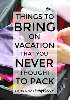 to Pack on Vacation That You Would Never Think To Pack Trash bags, duct tape, power strip and more! Here is a list of things to pack in your suitcase that could save you some time and sanity on your next vacation!Trash bags, duct tape, power strip and Packing Tips For Vacation, Packing List Beach, Packing Hacks, Packing Ideas, Cruise Tips, Vacation Travel, Travel Bag, Suitcase Packing Tips, Beach Vacation Packing List
