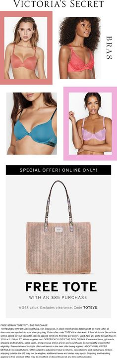 Pinned April 30th: #FREE tote with $85 spent at #VictoriasSecret via promo code TOTEVS #TheCouponsApp Calendar Reminder, Secret Deals, Couponing 101, Cosmetic Treatments, Restaurant Offers, Shopping Coupons, Victoria Secret Bras, Plastic Surgery, 30th