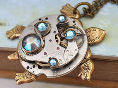 steampunk turtle necklace TAKE YOUR TIME vintage 17 by junesnight, $57.50