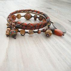Silk Road Gypsy Bangle Stack  Otrar Orange  3 by GypsyIntent, $34.00