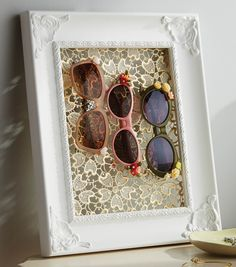 Upcycle Alert! Grab an old frame and some lace and you've got yourself a cute #DIY Sunglass Holder!