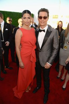 Camilia Alves & Matthew McConaughey attends the19th Annual Critics' Choice Movie Awards at Barker Hangar on January 16, 2014 in Santa Monica, California.