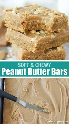 Soft and chewy Peanut Butter Bars topped with peanut butter icing. These sweet and salty bars are loaded with peanut butter flavor. Peanut Butter Dessert Recipes, Peanut Butter Icing, Peanut Butter Oatmeal Bars, Homemade Peanut Butter, Homemade Snickers, Healthy Peanut Butter, Chewy Peanut Butter Bars Recipe, Peanut Butter Squares, Homemade Marshmallows