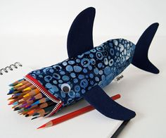 Pencil Case for Kids - Shark Bag - Boys Gift: Deep Sea Blue Shark Bite