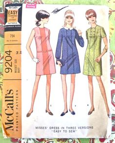 McCalls 9204  Vintage 1960s Mod Dress Pattern by Fragolina on Etsy