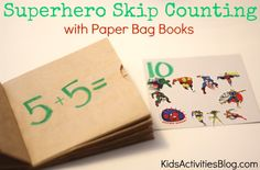 Superhero Skip Counting with Paper Bag Books {Would be fun with bugs this spring!}