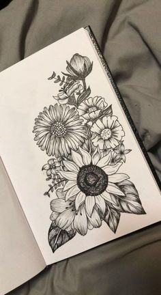Passionflower over sunflower and poppies on the right with lavender - diy tattoo images - Passion flower over sunflower and poppy on the right with lavender - Trendy Tattoos, Cute Tattoos, New Tattoos, Body Art Tattoos, Sleeve Tattoos, Tattoos For Women, Thigh Sleeve Tattoo, Small Tattoos, Cute Thigh Tattoos