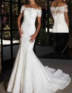 90e11250751 Details about Vintage Mermaid Lace Wedding Dress Bridal Gowns Off Shoulder  Short Sleeve Custom