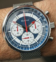 At Baselworld 2017, Bulova reintroduced a watch model from its past with the Bulova Special Edition Chronograph C, whose vintage ancestor was nicknamed the Bulova Stars & Stripes (given the red, white, and, blue color scheme).