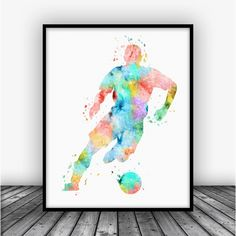 Soccer Player Art Print Poster From $10.00 #KidsRoom #KidsWallArt #BoysDecor #art #ArtPrints #decor #Boys #AllPrints #KidsRoomDecor #BoysRoom