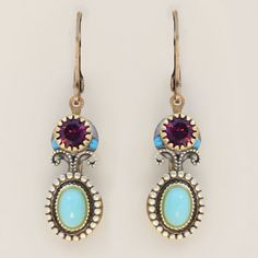 Rich oval Michal Golan earrings inspired by a Turkish bazaar with Howlite, glass cabochons.