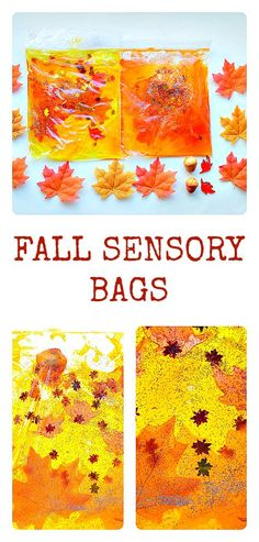 Make fall themed sensory bags for kids to squish and play. Looks great against a sunny window too