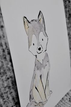 wolf pup ink sketch with watercolor, cute original art, and it supports the bambino's adoption. Win win. $25.00