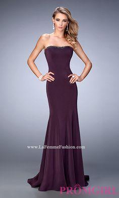 Long Strapless La Femme Jersey Prom Dress Style: LF-22396