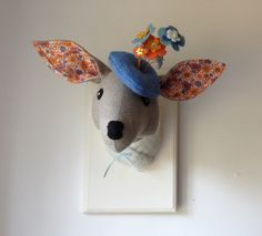Autumn fabric deer head trophy, glamours flower hat, orange and blue. Fauxidermy