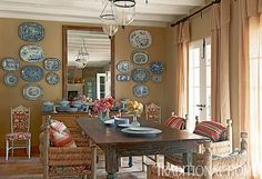 "Dining Room:  ""One of my favorite designers...Lynn Von Kersting the owner of Indigo Seas. The variety of prints, eclectic mix of vintage and ethnic furniture, lots of red and turquoise, and beautiful collections of vintage art and glass…"""