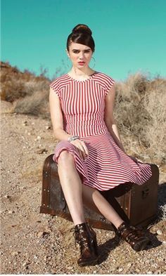 Red and white striped jersey dress. This looks so comfy.