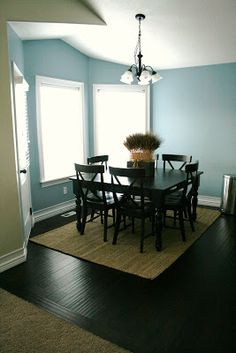 Dockside Blue by Sherwin-Williams House of Smith's See more dining room paint colors See more blue paint colors See more Sherwin-Williams paint colors Dining Room Paint, Kitchen Nook, Apartment Kitchen, Kitchen Redo, Kitchen Ideas, Favorite Paint Colors, Decorating On A Budget, Decorating Kitchen, My Dream Home