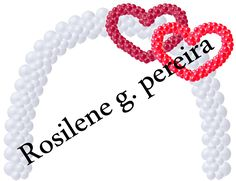 Projeto de balões para casamento ou noivado - arco com corações entrelaçados