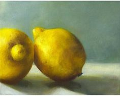 art print of oil painting - Tart Lemons - Free US Shipping // reproduction of still life painting  juicy yellow on grey jade. $30.00, via Etsy.