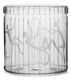 Edward Hald; Etched Glass Lidded Jar for Orrefors, 1944.