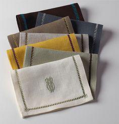 Julia B. Aix Cocktail napkins in Fall Linen colors
