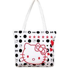 e881527ead99 Fashion Large Space Women Canvas Handbag Zipper Shopping Shoulder Bag Paris Hello  Kitty Pattern Girls Beach Bookbag Casual Tote