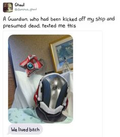 A Guardian. who had been kicked off ship and presumed dead, texted me +hís - iFunny :) Destiny Cayde 6, Destiny Comic, Destiny Bungie, Destiny Ships, Destiny Fallen, Gamer Humor, Gaming Memes, Nerd Memes, Anime Meme