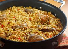Arroz con pollo, or chicken and rice is the ultimate one dish meal for my family. So many people ask me about my favorite dishes I make at home for my family, well this is certainly one of them! We like to serve this with hot sauce or Colombian aji picante and a simple green salad on the side.  I make many versions of this dish depending on my mood or what