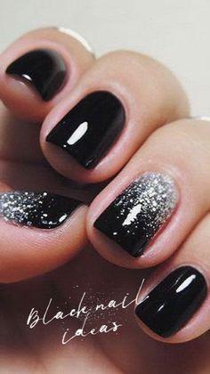 Black nails ideas | allthestufficareabout.com black Nail Designs, black nails, acrylic nails, coffin nails, square nails, nail design, simple matte nail design, glitter nails, shellac nail, nail polish, color nail design, glitter nail design, classy nails, almond nails, round nails, short nails, long nails, nail art, nail ideas, long nails, Opi nails, silver nails, elegant nail art, sparkly nail almond black nails with glitter