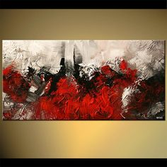 Original abstract art paintings by Osnat - red abstract painting for the kitchen but long ways