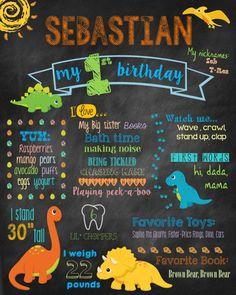 First Birthday Chalkboard Sign, Dinosaur Birthday Sign, 1st Birthday Chalkboard Sign, Photo Prop, Printable, Birthday Prop