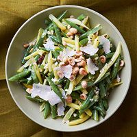 Two-Tone Green Bean Salad with Hazelnuts and Parmesan- I finally found this again! Would need to leave out the hazelnuts but this sounds delicious