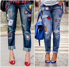 Embroidery patches on denim- Stripes and embroidery outfit ideas – Just Trendy Girls Jeans Casual, Jeans Style, Jean Outfits, Casual Outfits, Cute Outfits, Estilo Denim, Diy Sac, Diy Vetement, Mode Jeans