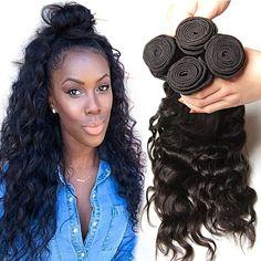 Klaiyi Brazilian Natural Wave Virgin Human Hair Weave Extensions 95-100g/pc