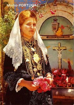 Noiva (bride) of Viana do Castelo. Note the intricate beading on her bodice and apron.