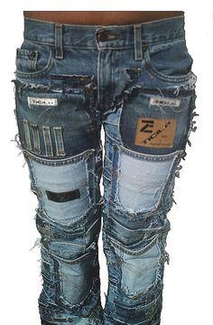 Tattoo Fashion Rocker Queen Hardcore Unique Handmade Patch Jeans Pants - Pants & Jeans